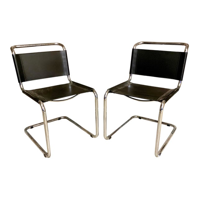 Vintage Mid Century Mart Stam Leather and Chrome Cantilever Chairs- A Pair For Sale