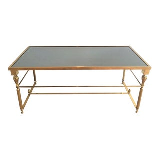 Mid Century Brass Coffee Table with Oxidized, Mirrored Glass