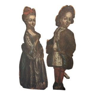 18th Century English Painted Dummy Boards - a Pair For Sale