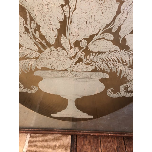 Wood Large Eglomise Reverse Painting on Glass Silver and Gold Leaf Panels -A Pair For Sale - Image 7 of 13