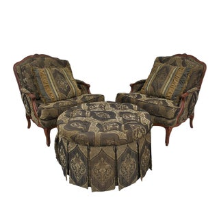 Vintage French Bergere Lounge Chairs & Ottoman - Set of 3 (Mr15400) For Sale