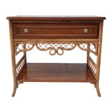 Image of Vintage Henry Link Lexington Wood and Wicker Console Table For Sale