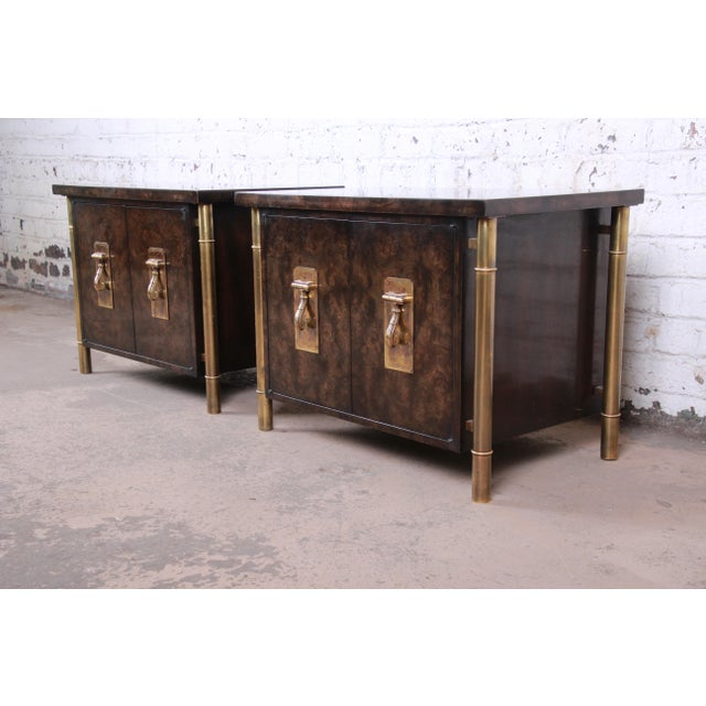 Bernhard Rohne for Mastercraft Hollywood Regency Faux Bamboo Brass and Burl Bedside Chests - a Pair For Sale - Image 12 of 12