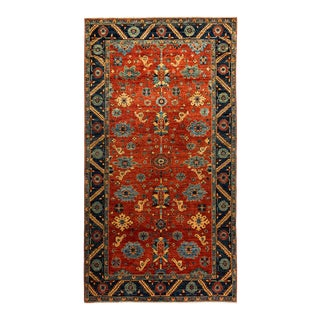 One-Of-A-Kind Oriental Serapi Hand-Knotted Runner Rug, Crimson, 6' 3 X 11' 7 For Sale