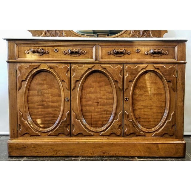 American Victorian Gothic / Renaissance Revival Italian Marble Del Duomo Topped Sideboard For Sale In San Diego - Image 6 of 13