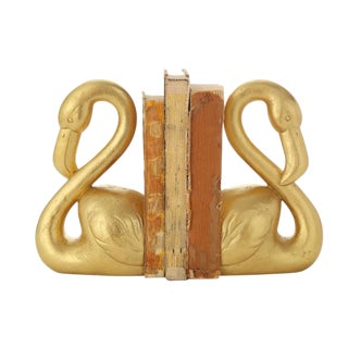 Gold Flamingo Bookends - a Pair For Sale