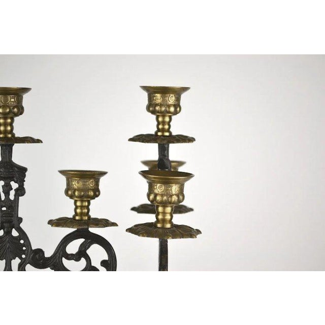 Blackened Brass Candlesticks - A Pair For Sale - Image 4 of 8