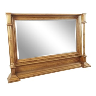 Vintage Column Wood Framed Floor Mirror For Sale