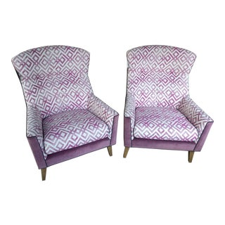 CR Laine Mid-Century Style Purple Upholstered Lounge Chairs - a Pair For Sale
