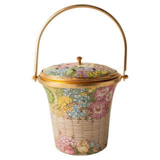Hand Enameled Potpourri Basket called Elizabethan by Halcyon Days For Sale