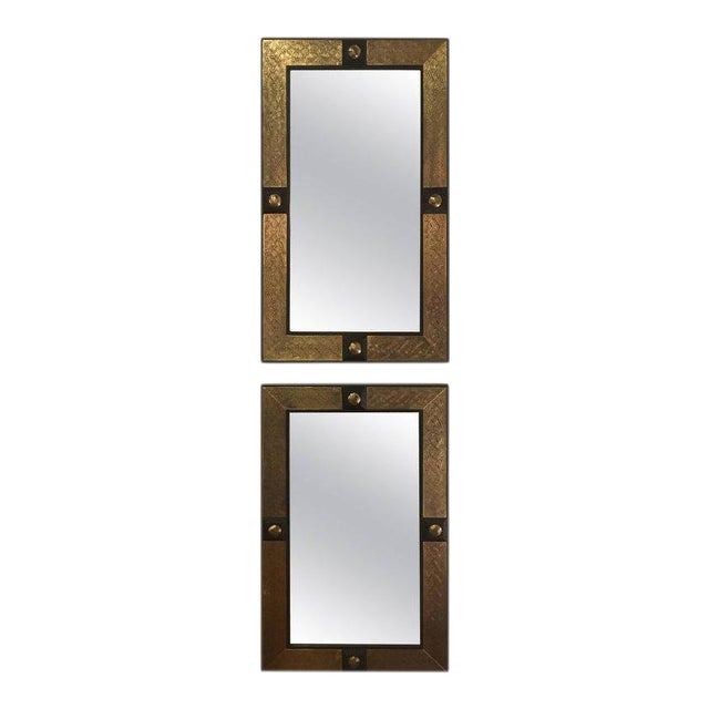 Hollywood Regency Style Gold Brass Morrocan Mirrors - a Pair For Sale