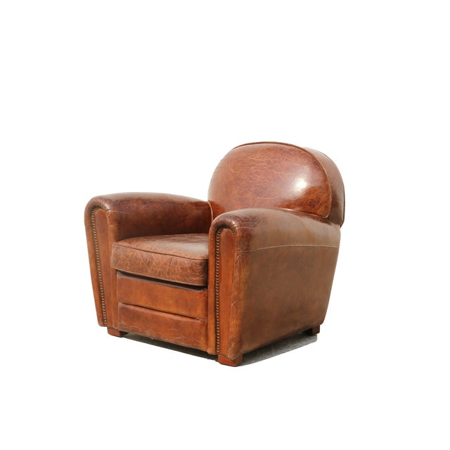 English Pasargad Brown Leather Paris Club Chair For Sale - Image 3 of 7
