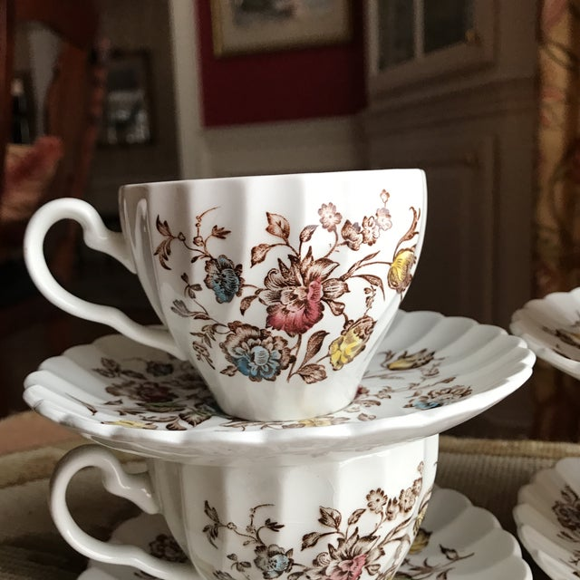 Cottage 4 Vintage English Ironstone Cups & Saucers - 8 Pieces For Sale - Image 3 of 9