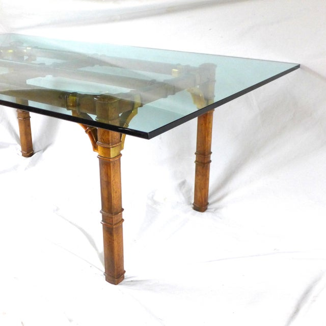 Hollywood Regency Hollywood Regency Bamboo & Glass Dining Table For Sale - Image 3 of 9