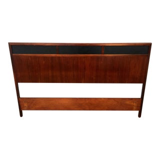Mid-Century Walnut & Vinyl Headboard For Sale
