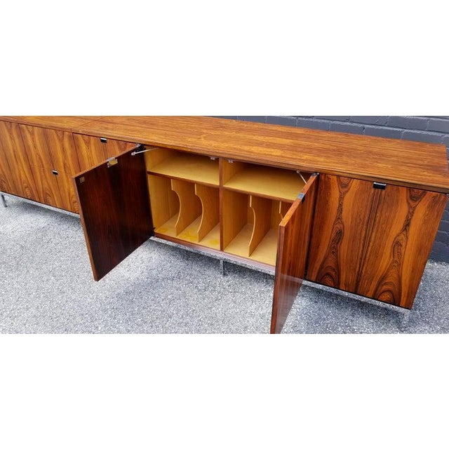 Custom Bookmatched Brazilian Rosewood Florence Knoll Media Cabinet For Sale - Image 10 of 13