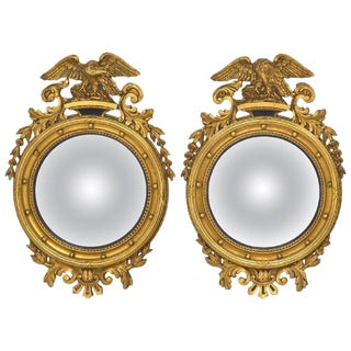 American Federal Style Round Convex Giltwood Mirrors With Opposing Eagles, Pair For Sale