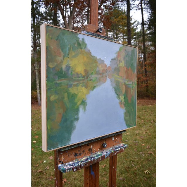 """Canvas """"Overcast Autumn Day at the Pond"""" Contemporary Landscape Painting by Stephen Remick For Sale - Image 7 of 11"""