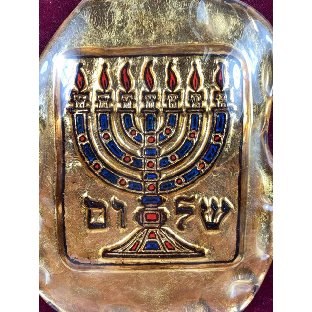 """Murano glass Judaica by Fusetti Diego. Free form glass plaque molded with a Medieval style menorah and the word """"shalom""""..."""