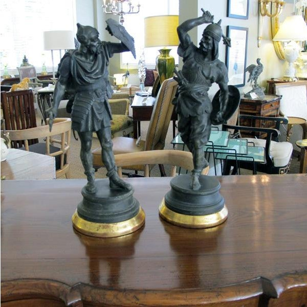 Sculpting A Well-Executed Pair of English Spelter Figures of Visigoth Warriors For Sale - Image 7 of 9