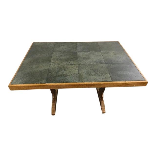 Vintage Carved Wood & Ceramic Tile Top Table - Image 1 of 4