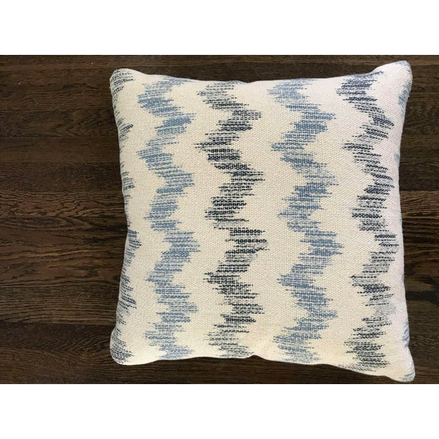 Custom Blue and White Chevron Pillows - a Pair - Image 2 of 5