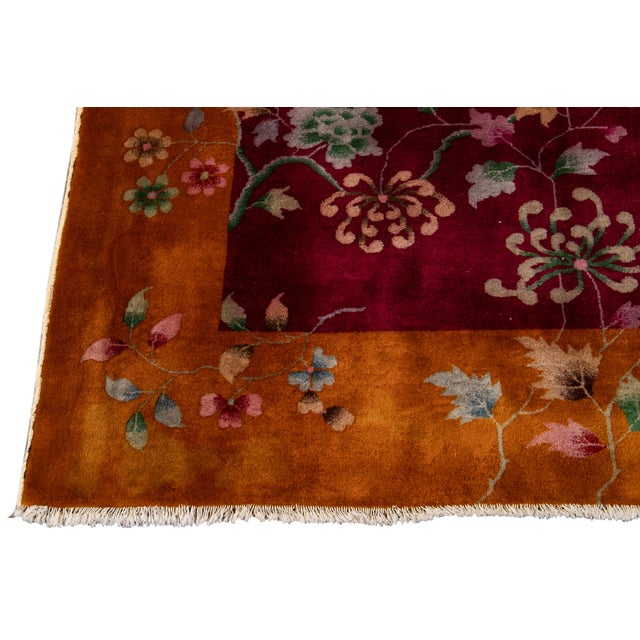 Early 20th Century Antique Art Deco Chinese Wool Rug 9 X 11 For Sale - Image 9 of 13