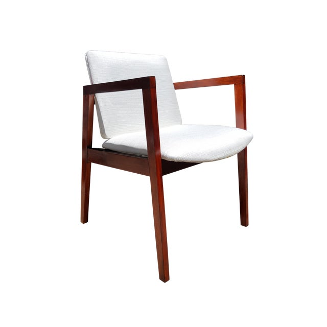 Mid-Century White & Red Wood Office Armchair - Image 1 of 6
