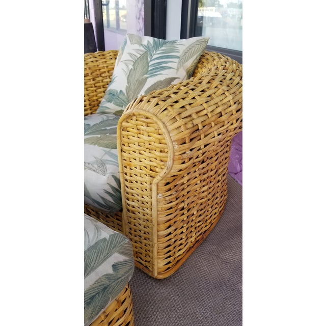 XL- Ralph Lauren Tropical Woven Rattan Chair and Ottoman For Sale - Image 12 of 13