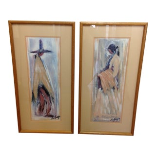 "Vintage Signed DeGrazia ""Navajo Bride"" and ""Navajo Groom"" Prints - A Pair For Sale"
