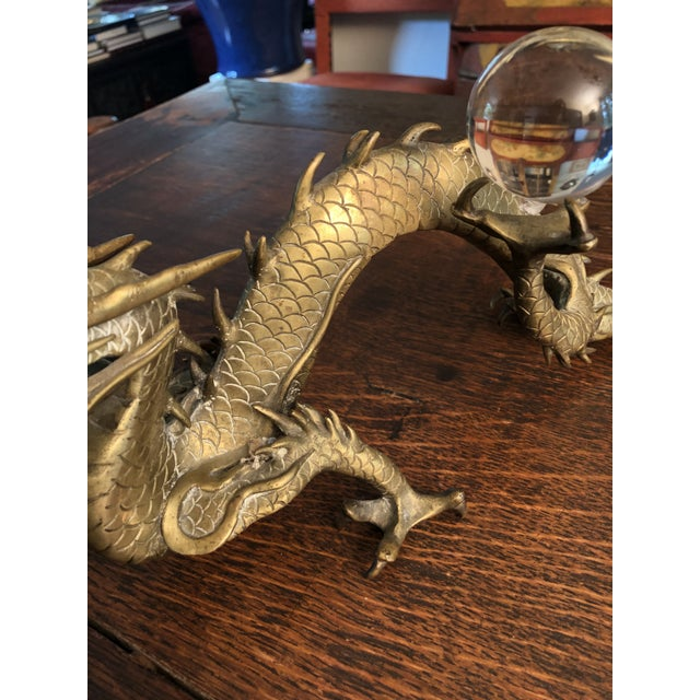 Antique Asian Articulated Dragon Sculpture Holding Glass Ball For Sale In Minneapolis - Image 6 of 13