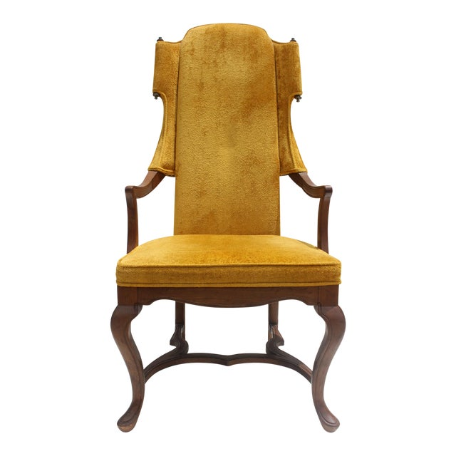 Jim Peed For Drexel Brass Final Accent Tall Wingback Chair - Image 1 of 11