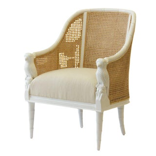 Cockatoo Armchair - White with Natural Caning For Sale