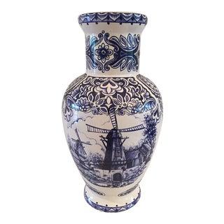 T. Delfts Bleau Porcelain Vase For Sale