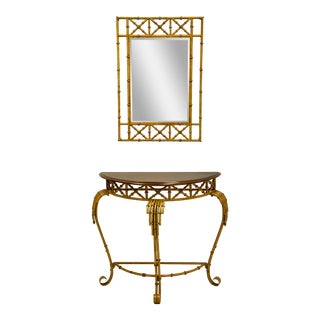 Chinese Chippendale & Faux Bamboo Style Console Table & Mirror For Sale