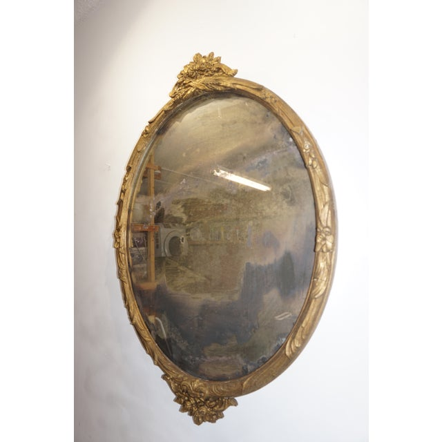 Boho Chic Giltwood Oval Mirror, Beautiful distressed patina and mirror, structurally sound