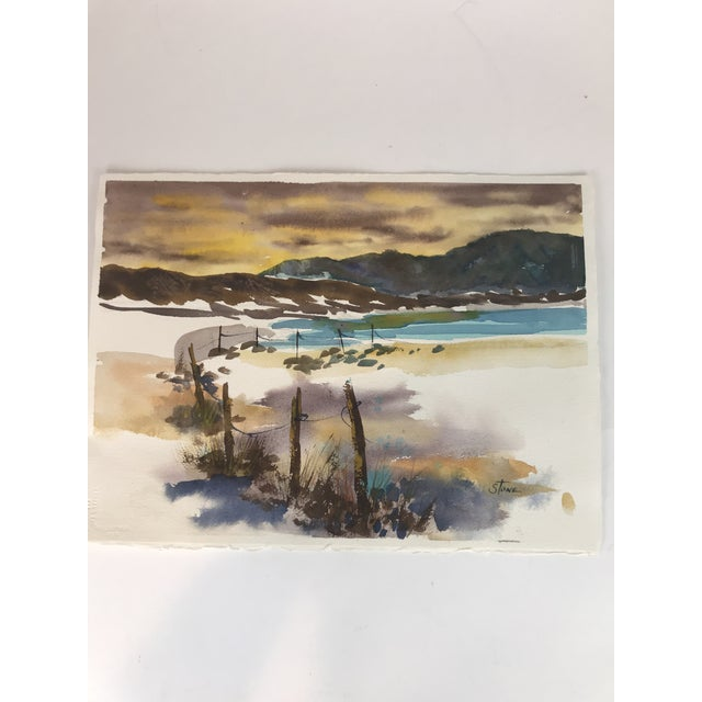 2010s Original Unframed Watercolor Seascape Painting For Sale - Image 5 of 5