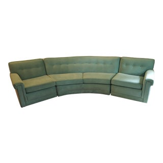 Mid-Century Turquoise Velvet 3-Piece Sectional For Sale