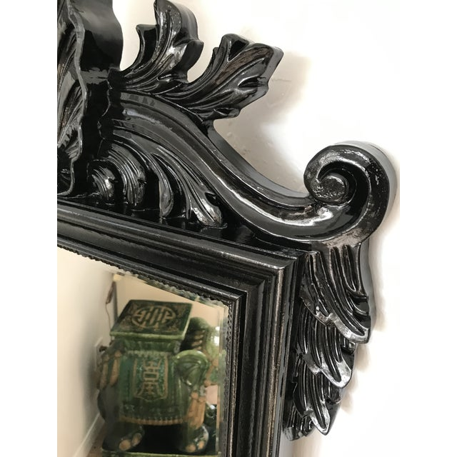 Coastal Regency Ornate Scalloped Shell Black Lacquered Mirror For Sale - Image 11 of 13