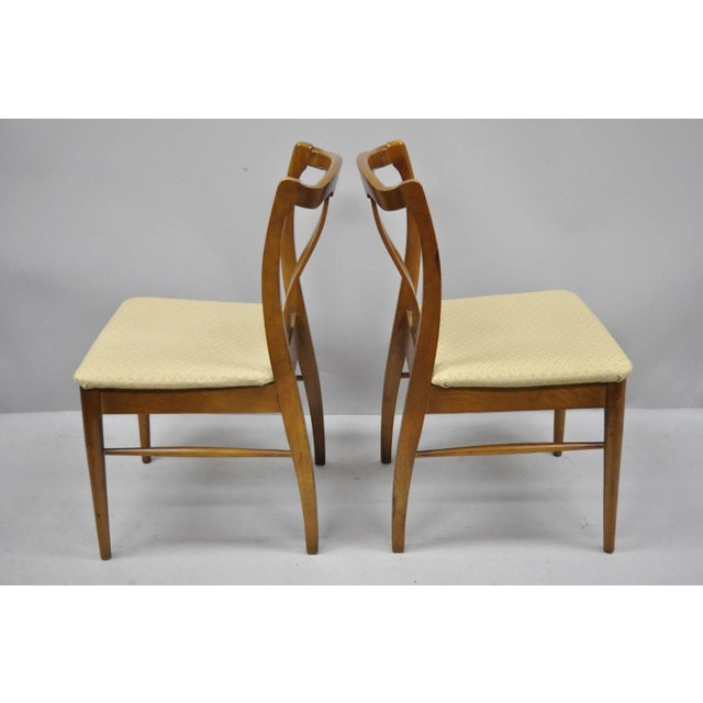 Brown Vintage Mid-Century Modern Curved Back Walnut Dining Chairs - Set of 4 For Sale - Image 8 of 12