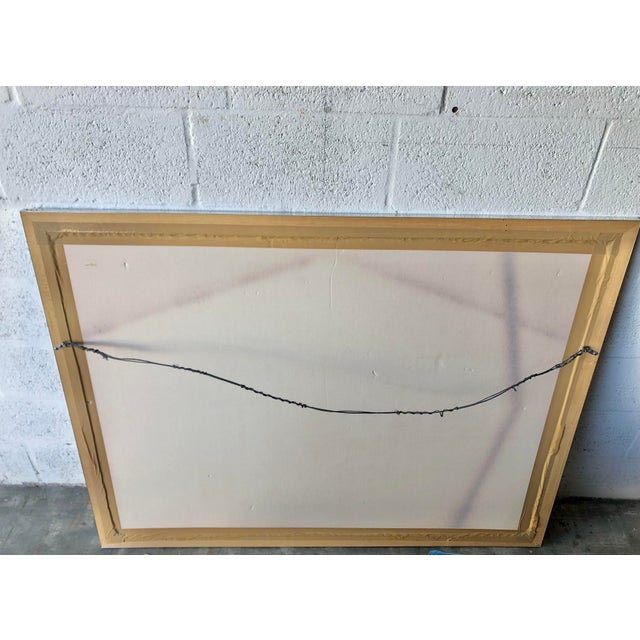 Vintage Mid Century Modern Framed Abstract Washed Acrylic Signed by the Artist. For Sale - Image 12 of 13
