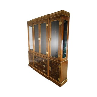 Drexel Heritage Dynasty Collection Large Chinoiserie Decorated Breakfront Cabinet For Sale