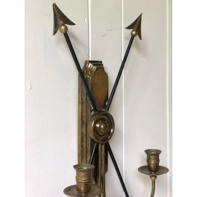 Mid 20th Century Neoclassical Arrow Wall Sconce of Brass For Sale - Image 5 of 11