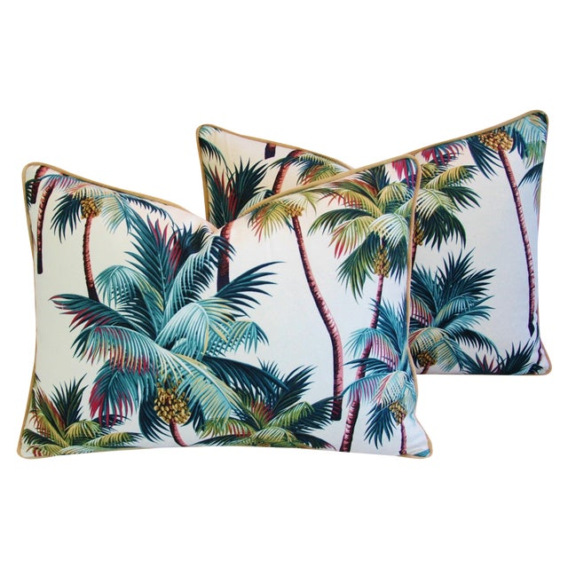 Designer Tropical Coconut Palm Tree Pillows - Pair - Image 1 of 10