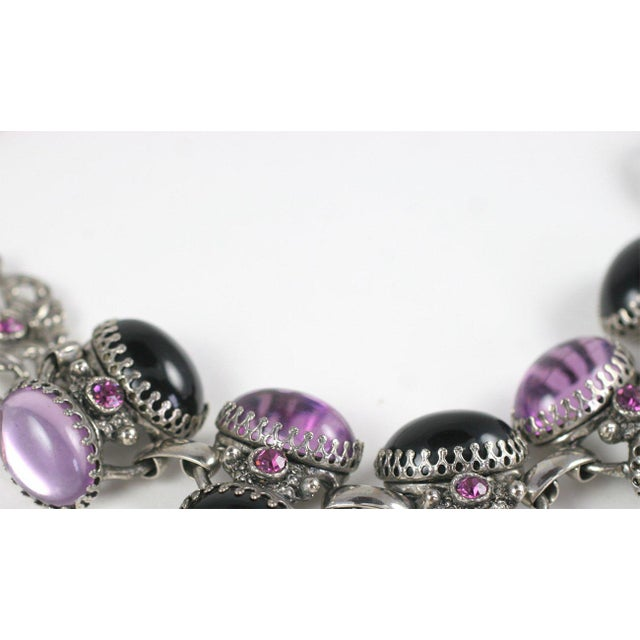 Lavender and Black Jeweled Necklace and Earrings For Sale - Image 4 of 10