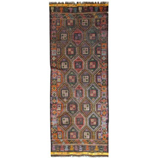 """1930s Handmade Antique Tunisian F;at-Weave Kilim 3'3"""" x 9'2"""" For Sale"""