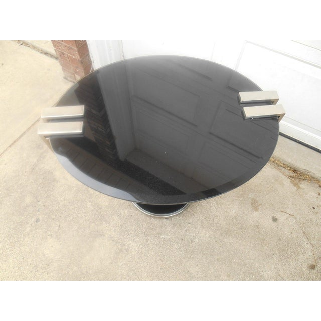 Oval Black Glass & Metal Art Deco Style End Table - Image 5 of 6