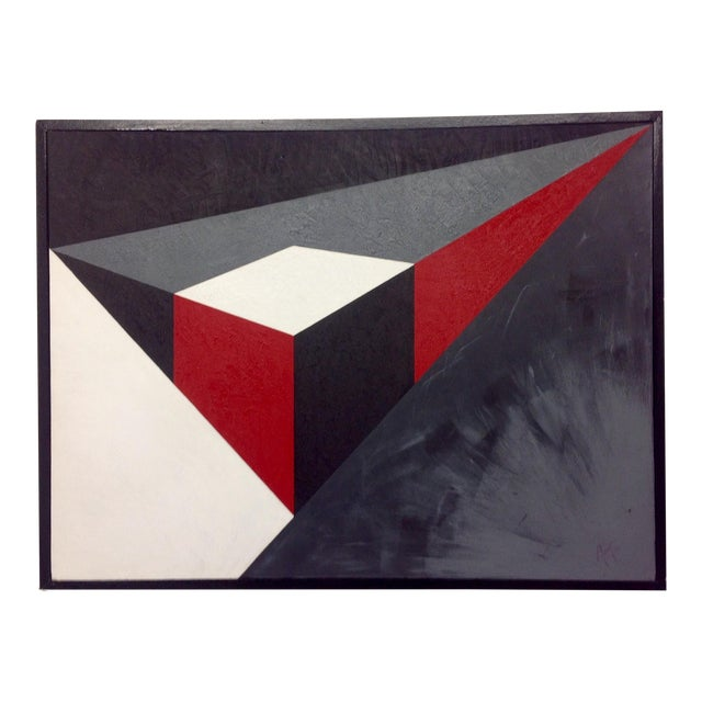 Abstract Geometric Acrylic Painting - Image 1 of 4