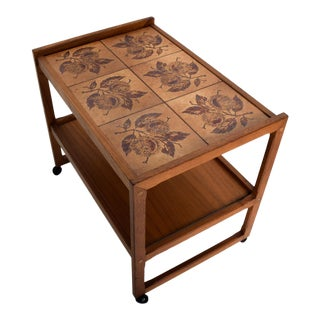 Mid-Century Danish Modern Teak and Tiles Service Table Bakery Bar Trolley For Sale