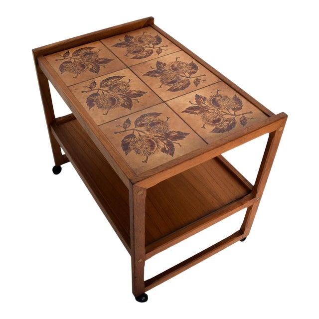 Mid-Century Danish Modern Teak and Tiles Service Table Bakery Bar Trolley For Sale